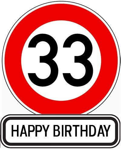 Schild mit Glückwünsche zum 33. Geburtstag