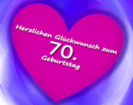 Herz mit Glückwünsche zum 70. Geburtstag als Bild