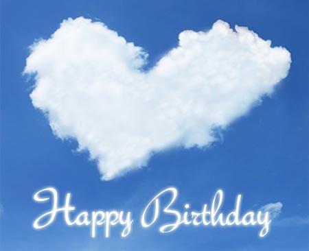 Gl�ckw�nsche zum Geburtstag an die Freundin mit Herz auf Wolken
