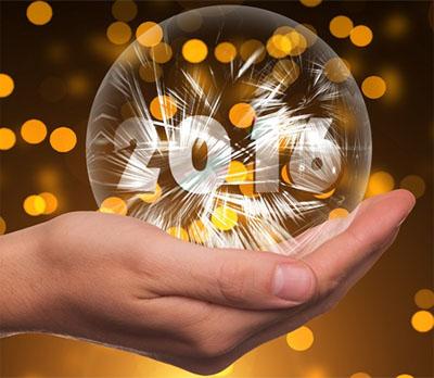 Glaskugel mit W�nschen zu Silvester 2016