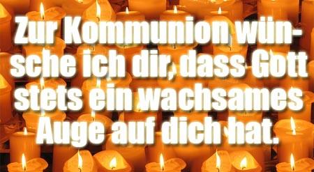 Kommunionsw�nsche mit Kerzen und Gott