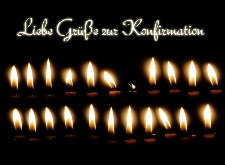 Kartenspruch zur Konfirmation mit Kerzen