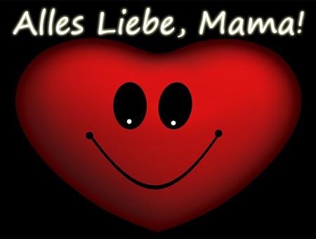 Ein lachendes Herz mit lieben Grüße für die Mama