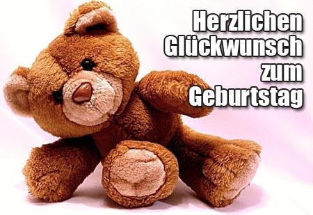 Süßer Teddy mit Geburtstagsglückwünschen